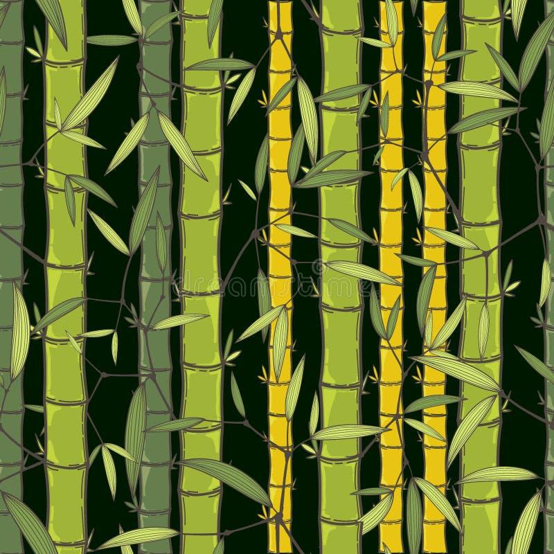 Illustration för vektor för tapet för kinesiskt eller japanskt bambugräs orientalisk Tropisk asiatisk sömlös bakgrund stock illustrationer