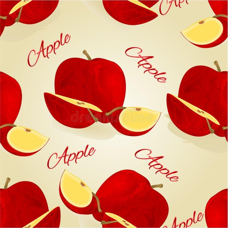 Illustration för vektor för tappning för livsstil för sömlös röd äpplefrukt för textur redigerbar sund royaltyfri illustrationer