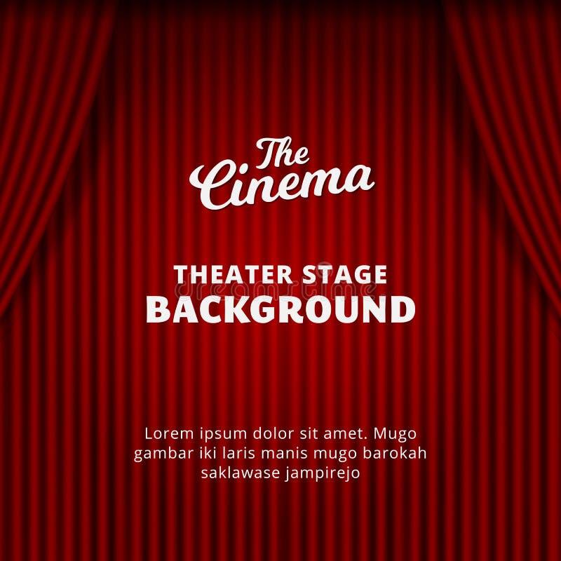 Illustration för vektor för teatergardinbakgrund realistisk gardin för röd sammet för bion, drama, cirkus, magisk showaffisch royaltyfri illustrationer