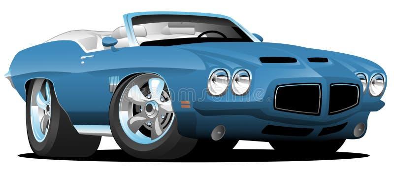 Illustration för vektor för tecknad film för bil för muskel för klassisk Seventiesstil amerikansk konvertibel vektor illustrationer