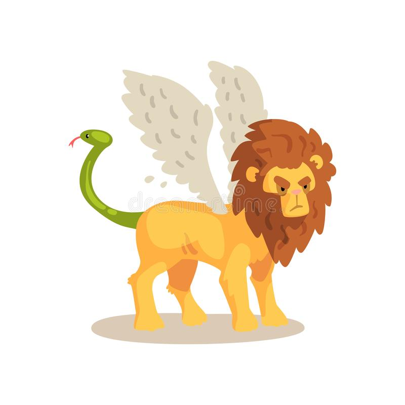 Illustration för vektor för tecknad film för mytisk varelse för bevingat lejon forntida på en vit bakgrund stock illustrationer