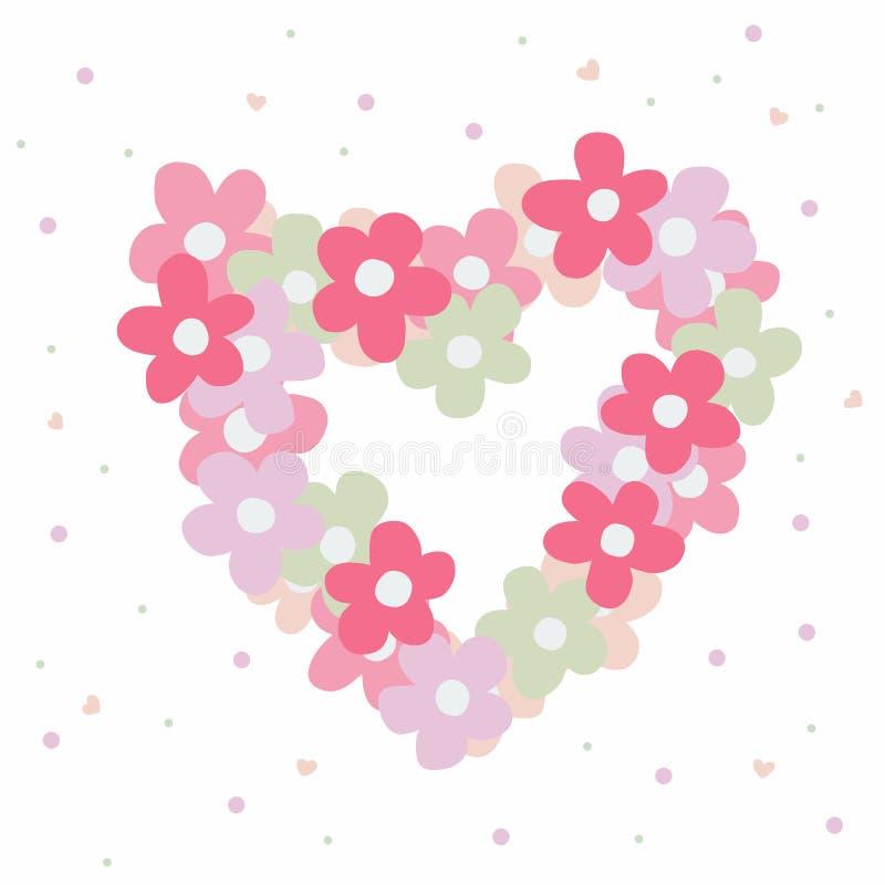 Illustration för vektor för tecknad film för ram för rosa färgblommahjärta royaltyfri illustrationer