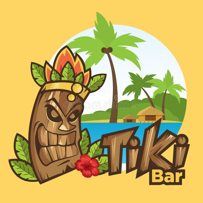 Illustration för vektor för tecknad film för Tiki maskering rolig royaltyfri illustrationer