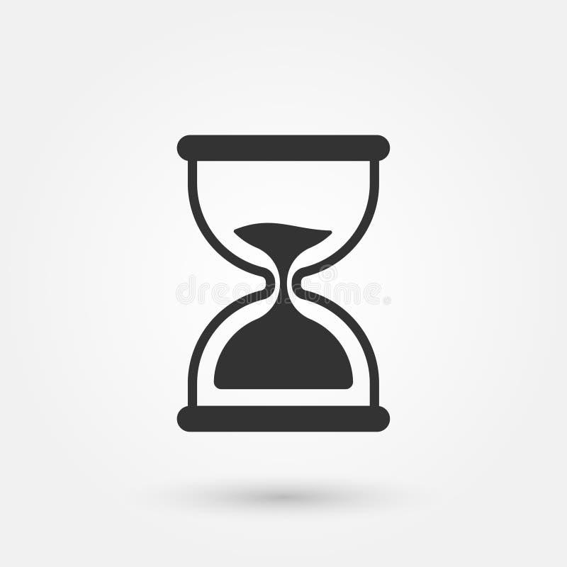 Illustration för vektor för timglas för symbol för klocka för materielvektorsand enkel plan stock illustrationer