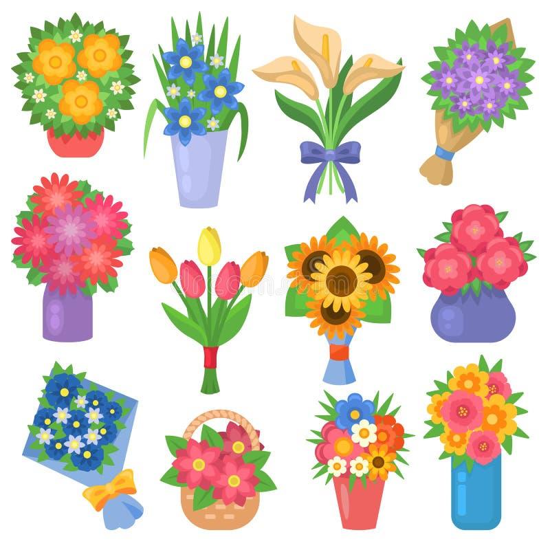 Illustration för vektor för trädgård för vektor för lägenhet för samling för blommabukettuppsättning blom- vektor illustrationer
