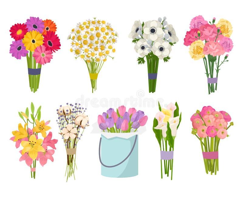 Illustration för vektor för trädgård för vektor för lägenhet för samling för uppsättning för blommafrunchbukett blom- stock illustrationer
