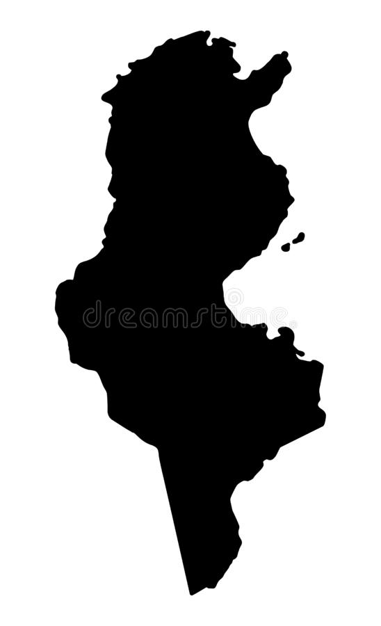 Illustration för vektor för Tunisien översiktskontur stock illustrationer