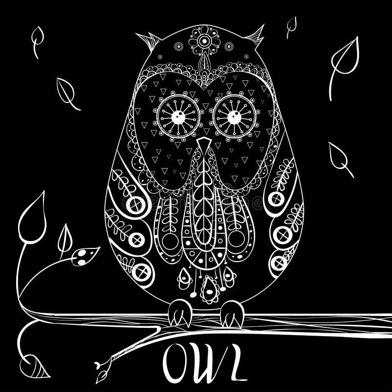 Illustration för vektor för UGGLAzentangle handdrawn royaltyfri illustrationer
