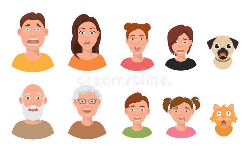 Illustration för vektor för uttryck för mänskliga framsidor för sinnesrörelser för ansikts- sinnesrörelser för folk rädd fruktans stock illustrationer
