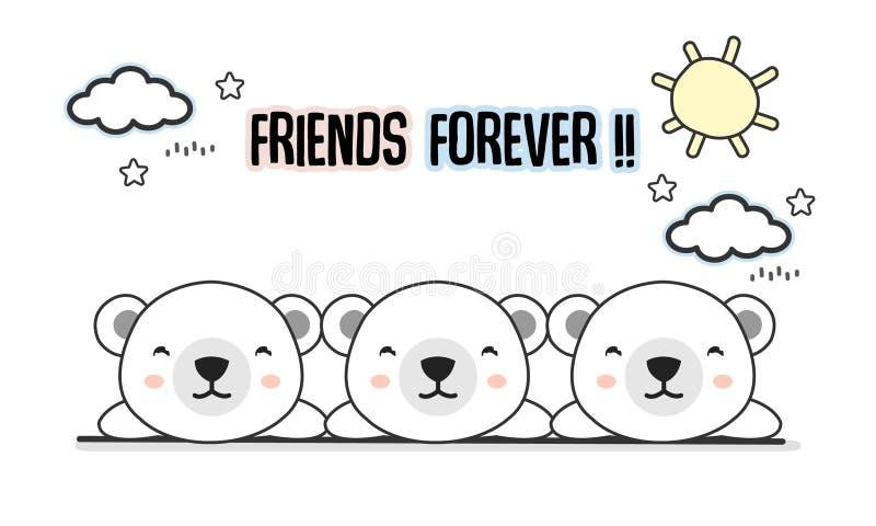 Illustration för vektor för vänför evigtisbjörnar royaltyfri illustrationer