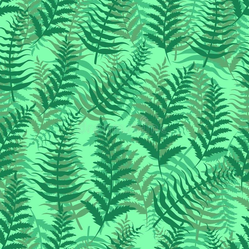 Illustration för vektor för växt för blad för gräsplan för natur för bakgrund för sömlös modell för ormbunke exotisk royaltyfri illustrationer
