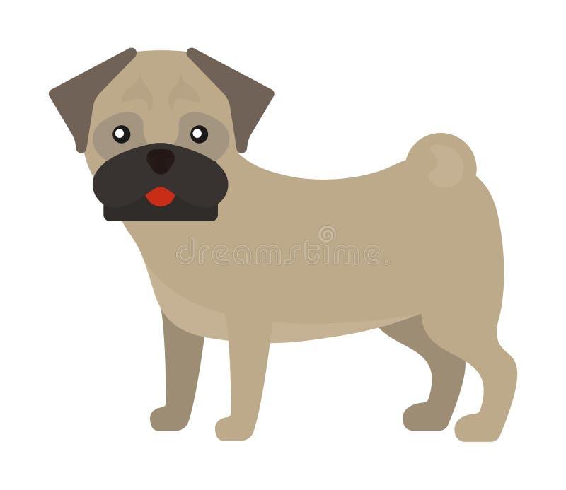 Illustration för vektor för valp för älsklings- djur för framsida för vovve för fransk bulldogg för hundavel förtjusande stock illustrationer