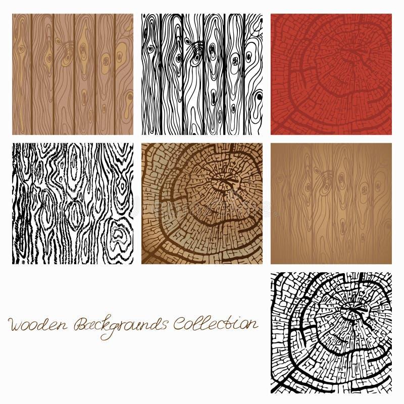 Illustration för vektor för Webwooden bakgrundssamling trätexturbeståndsdelar för design royaltyfri illustrationer