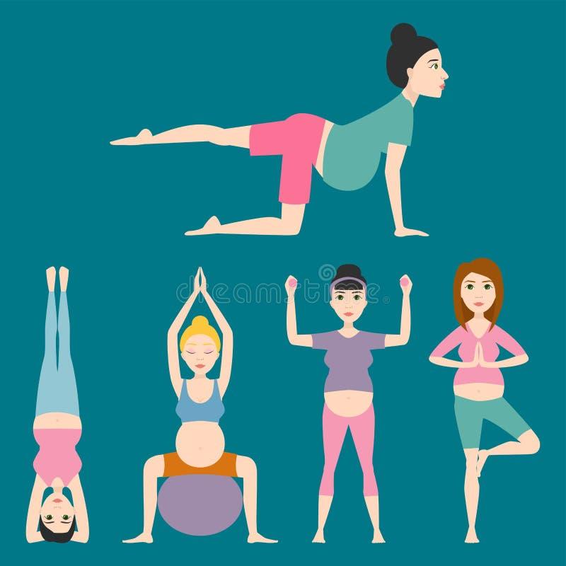 Illustration för vektor för yoga för kvinna för begrepp för livsstil för tecken för folk för havandeskapsportkondition sund vektor illustrationer