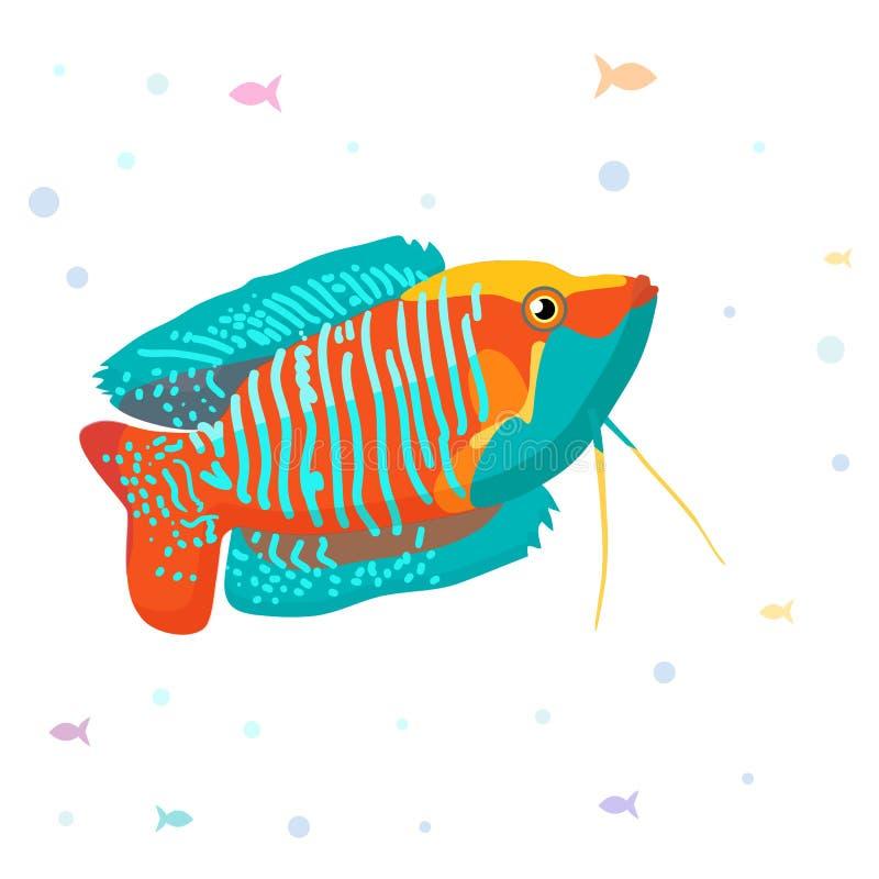 Illustration för vektorakvariefiskkontur Färgrik symbol för tecknad filmlägenhetakvariefisk för din design arkivbilder