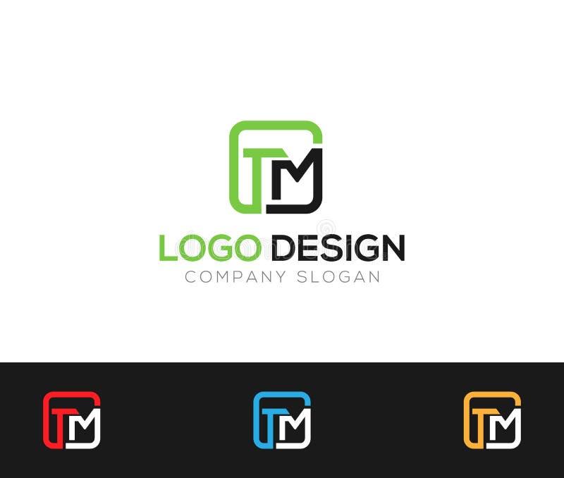 Illustration för vektorer för TM-bokstavsLogo Template online-lager stock illustrationer