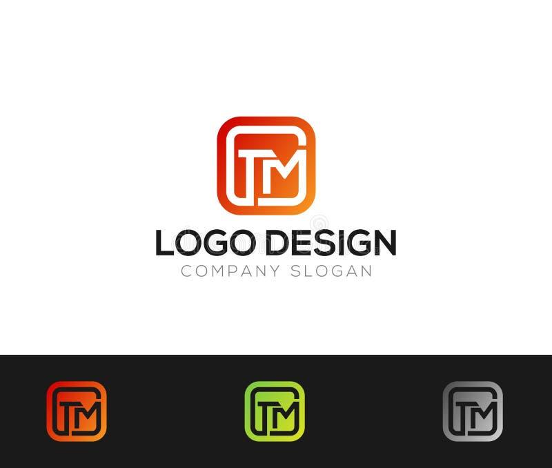 Illustration för vektorer för TM-bokstavsLogo Template online-lager vektor illustrationer