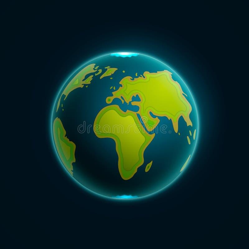 Illustration för vektorjordjordklot Pappers- snida jordöversiktsformer med skugga 10 eps vektor illustrationer