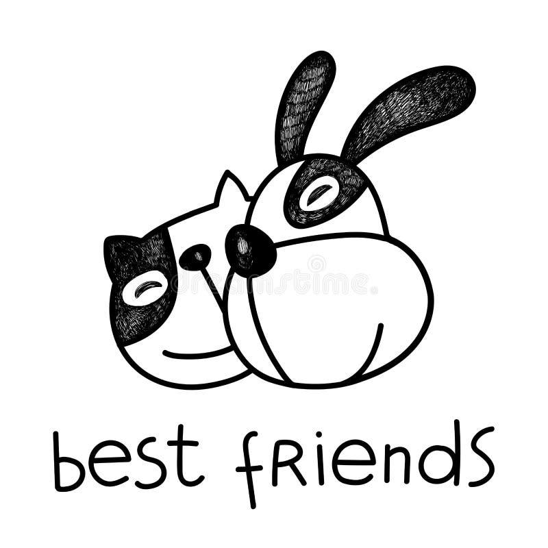 Illustration för vektorkatt- och hundvänner stock illustrationer