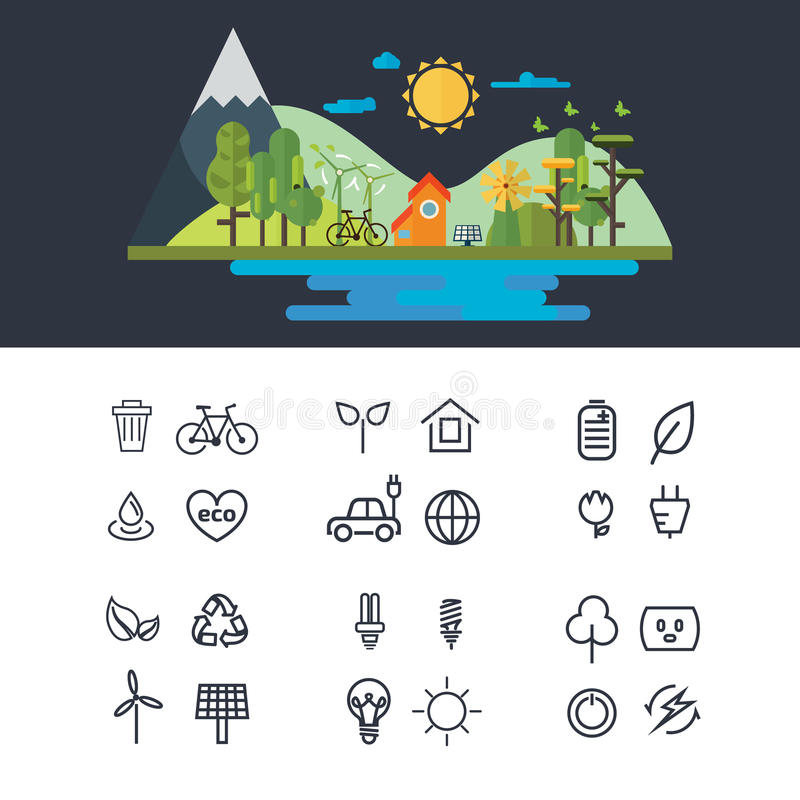 Illustration för vektorlägenhetdesign av ekologilandskapet Infographic beståndsdel Eco symbolsuppsättning vektor illustrationer