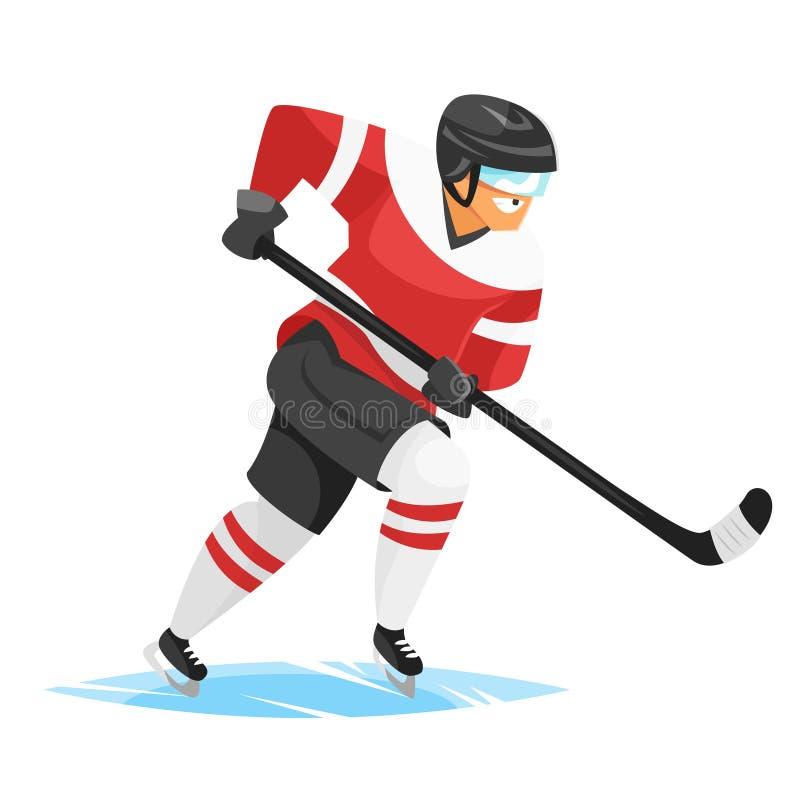 Illustration för vektorlägenhetstil av hockeyspelaren stock illustrationer