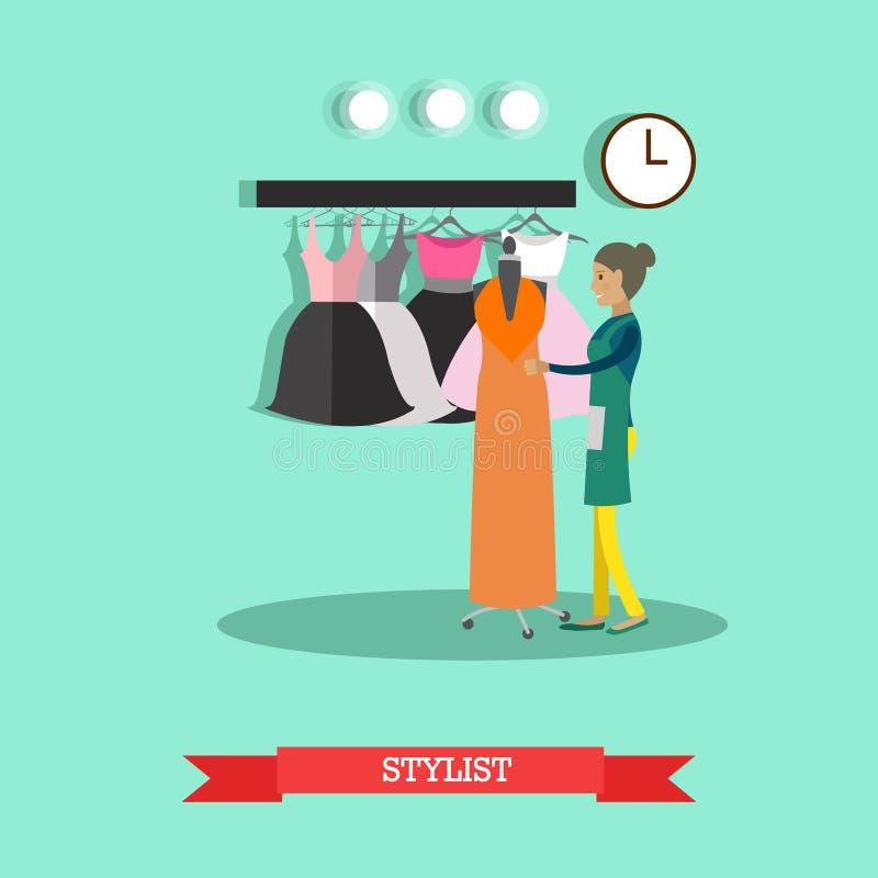 Illustration för vektorlägenhetstil av stylisten, formgivare för modekläder stock illustrationer