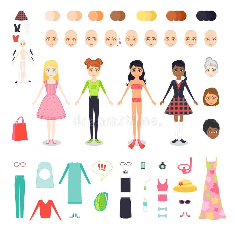 Illustration för vektorlägenhetuppsättning av diagramet nätt flicka Teckenkonstruktör av kvinnan med olik hudfärg, hår och stock illustrationer