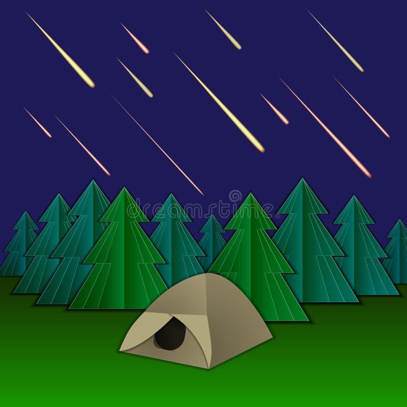 Illustration för vektormeteorregn, tält och granträd, skinande meteor på himlen vektor illustrationer