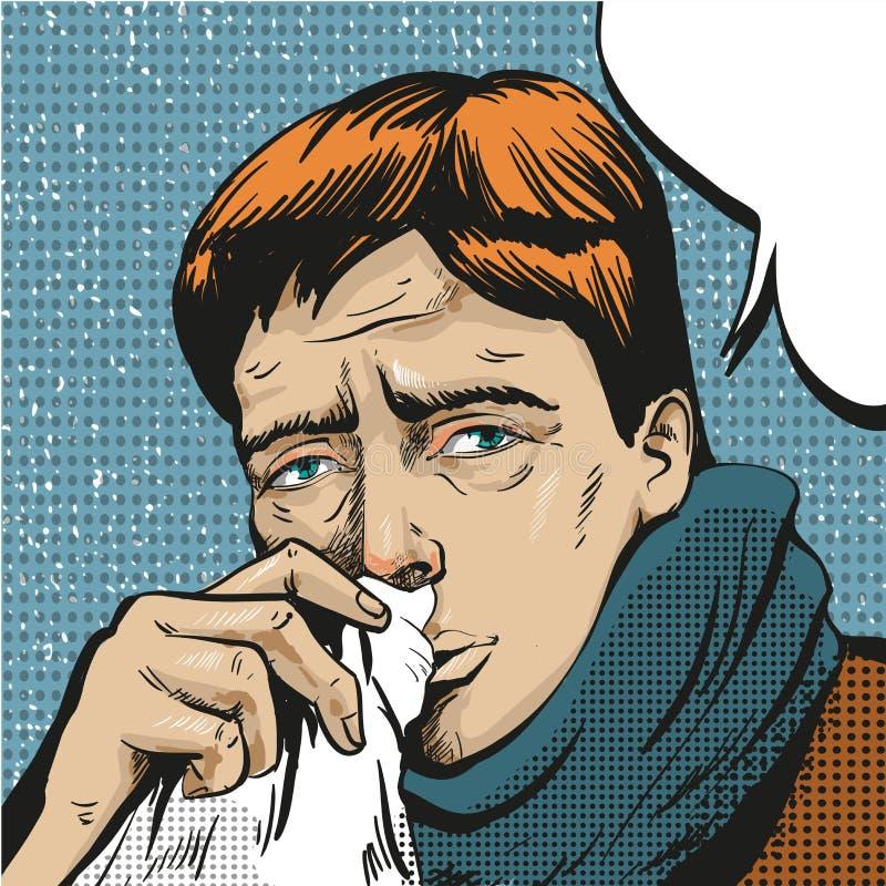 Illustration för vektorpopkonst av den sjuka mannen stock illustrationer