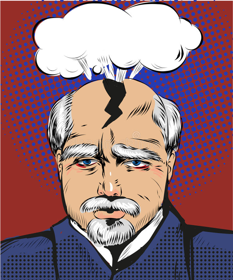 Illustration för vektorpopkonst av mannen som har blixtrande huvudvärk vektor illustrationer