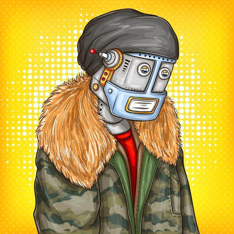 Illustration för vektorpopkonst av roboten, android i modeomslag Konstgjord intelligens, steampunk, cyborgbegrepp royaltyfri illustrationer