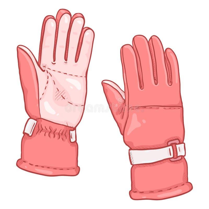 Illustration för vektortecknad filmfärg - rosa handskar för Extremal vintersportar vektor illustrationer