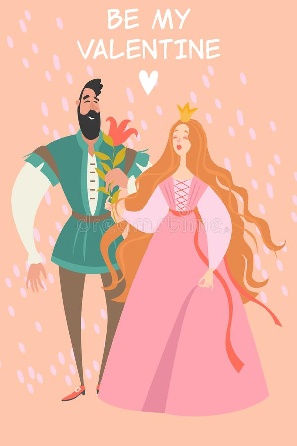 Illustration för vektorvalentindag med den gulliga prinsessan och prins med en blomma vektor illustrationer