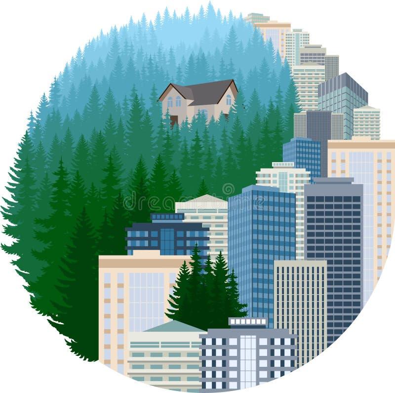 Illustration för vektorYing yang jämvikt med stads- och skogsmarkskogen stock illustrationer