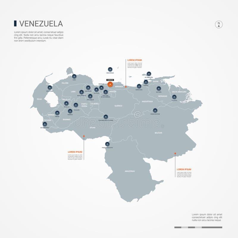 Illustration för Venezuela infographic översiktsvektor stock illustrationer