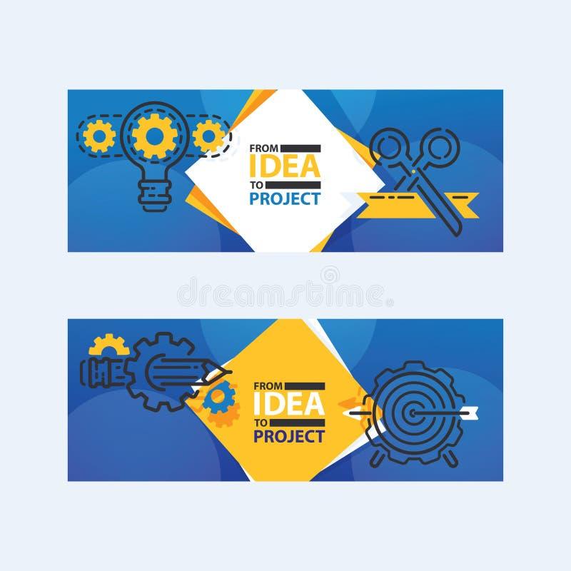 Illustration för vetor för baner för översiktsstrategisymboler Ljus kula med kugghjul och kuggar som tillsammans arbetar Från idé vektor illustrationer