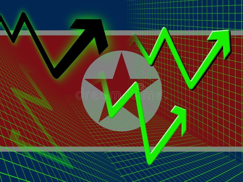 Illustration för vikande affär 3d för Nordkorea ekonomi stock illustrationer