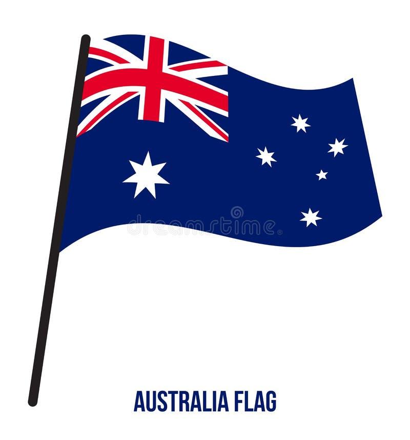 Illustration för vinkande vektor för Australien flagga på vit bakgrund Australien nationsflagga stock illustrationer