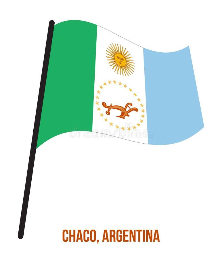Illustration för vinkande vektor för Chaco flagga på vit bakgrund Flagga av Argentina landskap stock illustrationer
