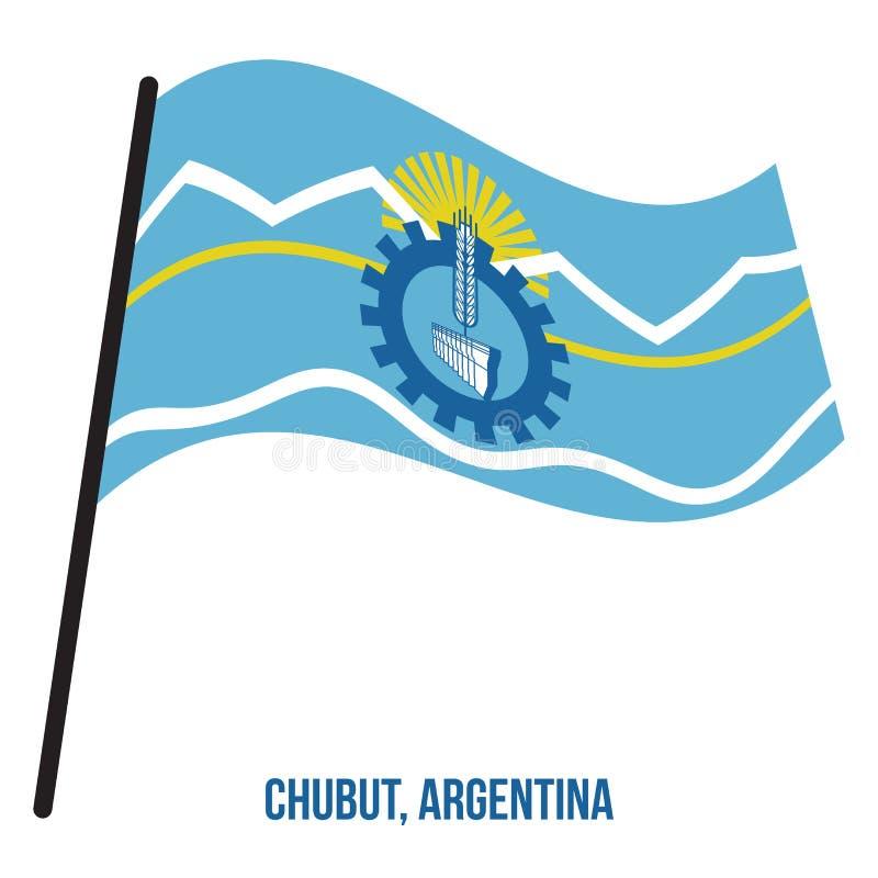 Illustration för vinkande vektor för Chubut flagga på vit bakgrund Flagga av Argentina landskap vektor illustrationer