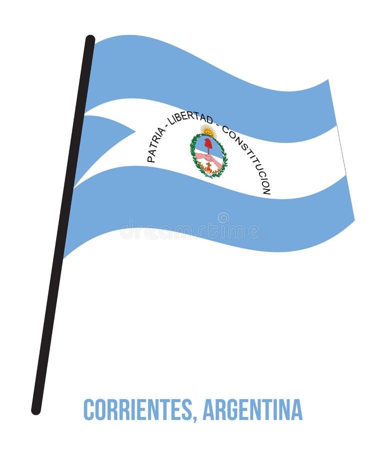 Illustration för vinkande vektor för Corrientes flagga på vit bakgrund Flagga av Argentina landskap stock illustrationer