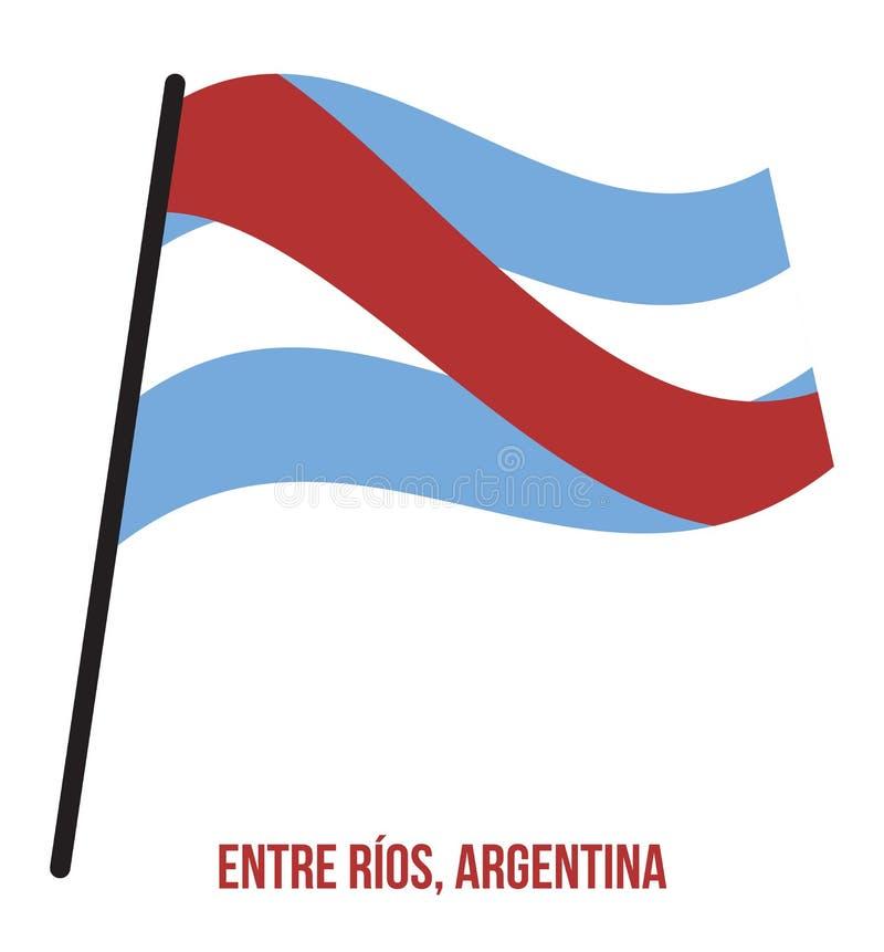 Illustration för vinkande vektor för Entre RÃŒos flagga på vit bakgrund Flagga av Argentina landskap stock illustrationer