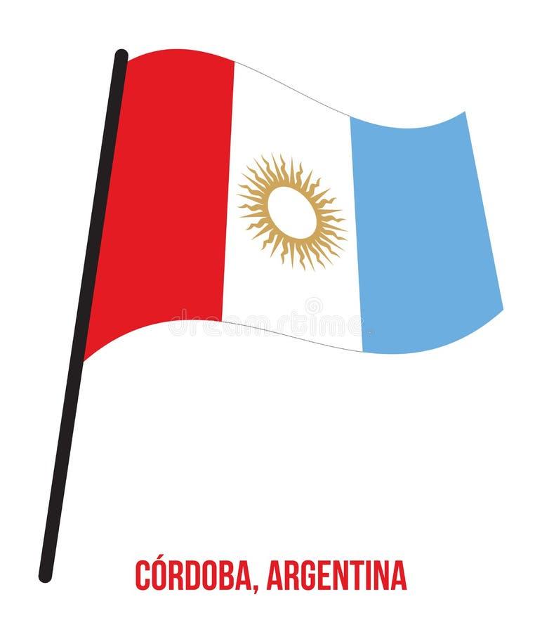 Illustration för vinkande vektor för flagga för CÃ-› rdoba på vit bakgrund Flagga av Argentina landskap royaltyfri illustrationer