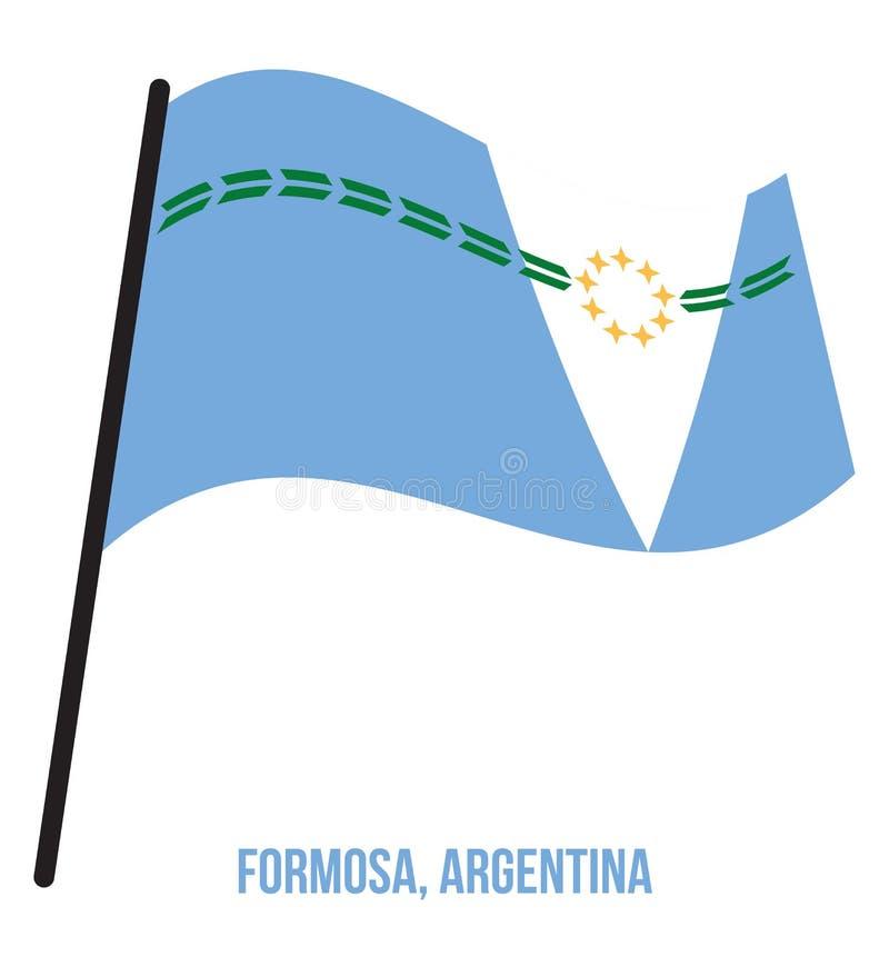 Illustration för vinkande vektor för Formosa flagga på vit bakgrund Flagga av Argentina landskap stock illustrationer