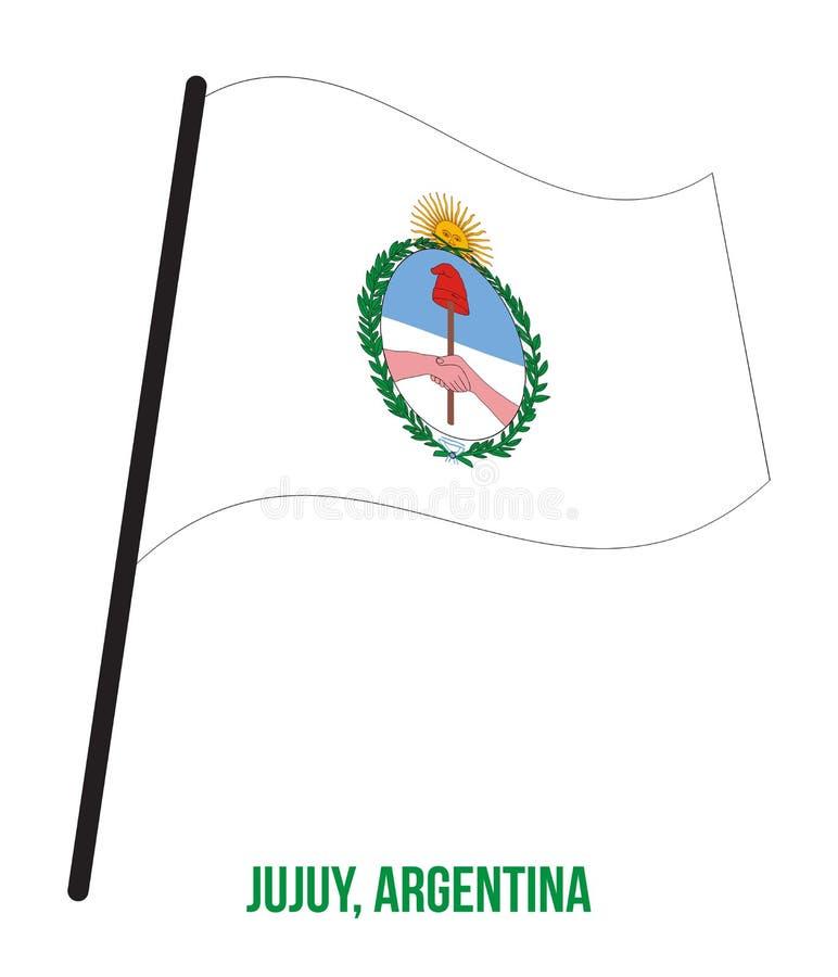 Illustration för vinkande vektor för Jujuy flagga på vit bakgrund Flagga av Argentina landskap vektor illustrationer