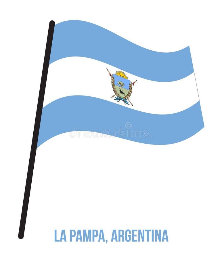 Illustration för vinkande vektor för La Pampa flagga på vit bakgrund Flagga av Argentina landskap stock illustrationer