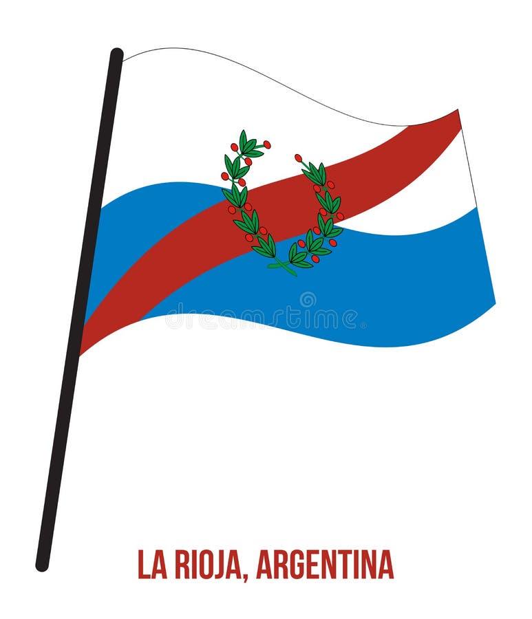 Illustration för vinkande vektor för La Rioja flagga på vit bakgrund Flagga av Argentina landskap royaltyfri illustrationer