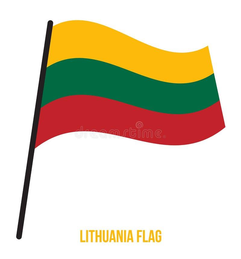 Illustration för vinkande vektor för Litauen flagga på vit bakgrund lithuania för bakgrundsflaggaillustration nationell white vektor illustrationer