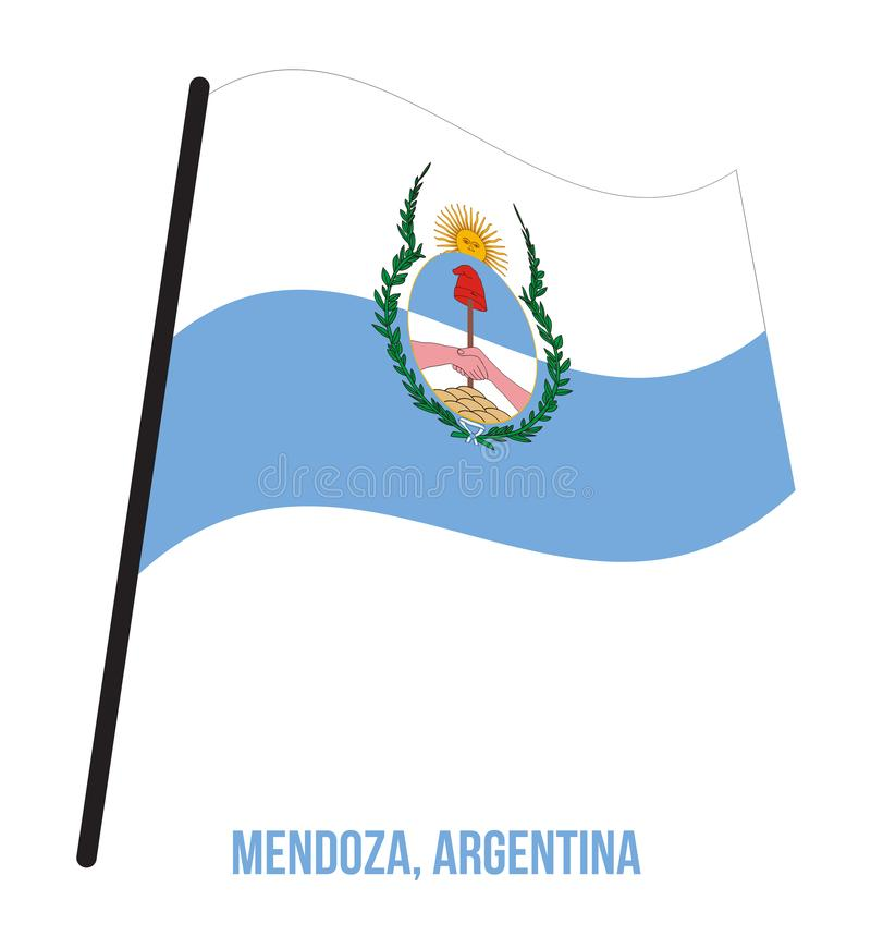 Illustration för vinkande vektor för Mendoza flagga på vit bakgrund Flagga av Argentina landskap royaltyfri illustrationer