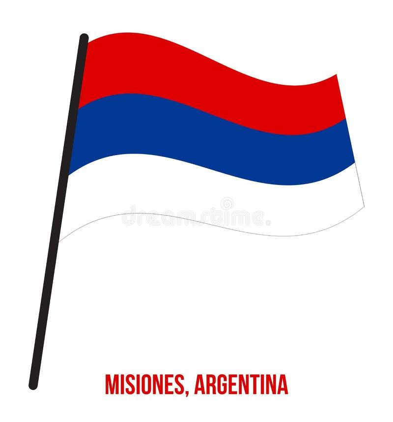 Illustration för vinkande vektor för Misiones flagga på vit bakgrund Flagga av Argentina landskap vektor illustrationer